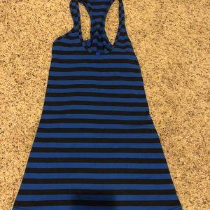 Lululemon Blue and Black Striped Workout Top sz 2